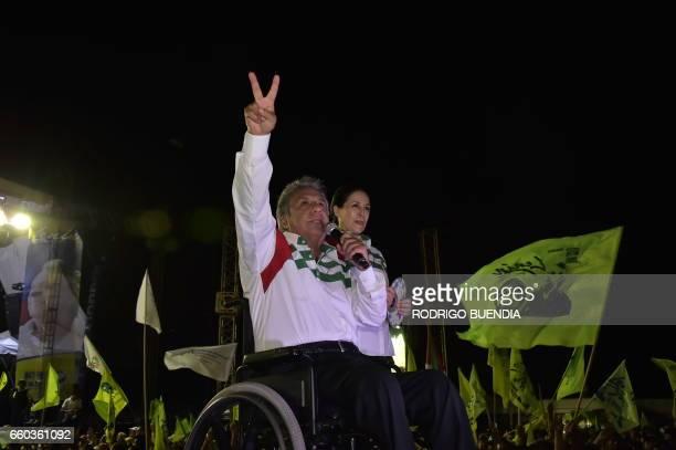 Ecuadorean presidential candidate for the ruling Alianza Pais party Lenin Moreno next to his wife Rocio Gonzalez delivers a speech during his...