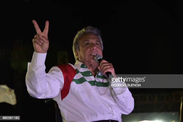 Ecuadorean presidential candidate for the ruling Alianza Pais party Lenin Moreno delivers a speech during his campaign closing rally in Portoviejo...