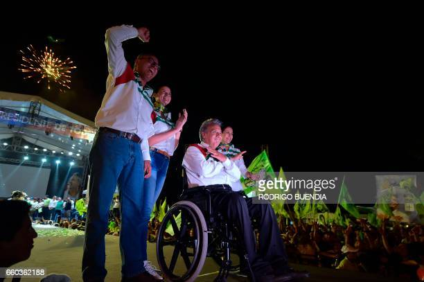 Ecuadorean presidential candidate for the ruling Alianza Pais party Lenin Moreno his wife Rocio Gonzalez his runningmate Jorge Glas and the latter's...