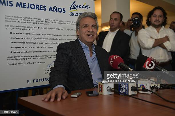 Ecuadorean presidential candidate Lenin Moreno speaks during a visit to the San Juan de Dios elders' house in Quito on January 3 2017 as campaigning...