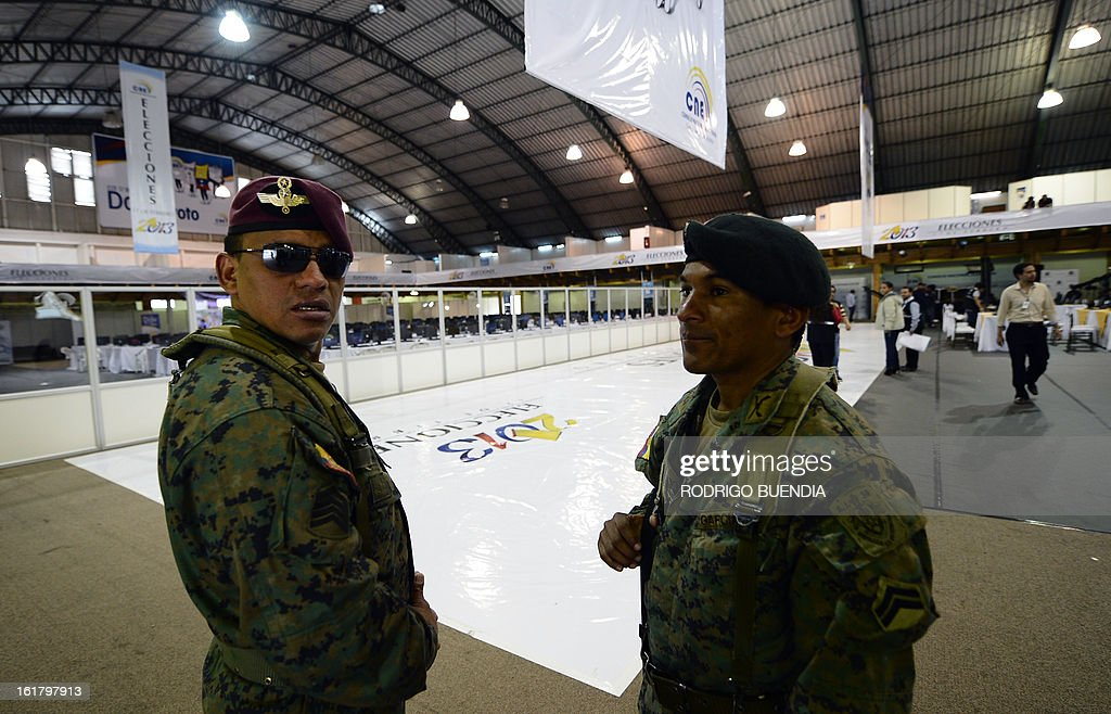 Ecuadorean soldiers stand guard at the vote counting centre, on the eve of general elections in Quito on February 16, 2013. Almost 12 million people are eligible to vote in Ecuador's presidential election, with President Rafael Correa tipped to win re-election by a landslide.