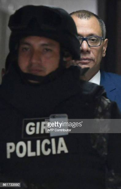 Ecuadorean Vice President Jorge Glas is escorted back to the courtroom during his habeas corpus hearing at the National Court of Justice in Quito on...