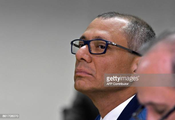 Ecuadorean Vice President Jorge Glas is pictured during his habeas corpus hearing at the National Court of Justice in Quito on October 15 2017 Glas...