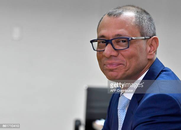 Ecuadorean Vice President Jorge Glas looks at the camera during his habeas corpus hearing at the National Court of Justice in Quito on October 15...