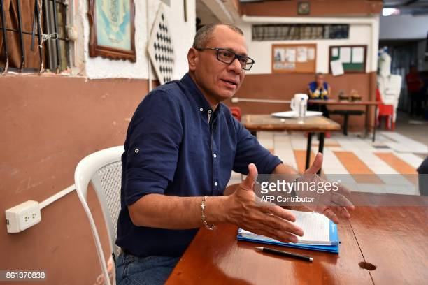 Ecuadorean Vice President Jorge Glas speaks during an exclusive interview with the AFP from the prison where he is kept in pretrial detention in...