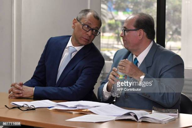Ecuadorean Vice President Jorge Glas talks to his lawyer Eduardo Franco Loor during his habeas corpus hearing at the National Court of Justice in...