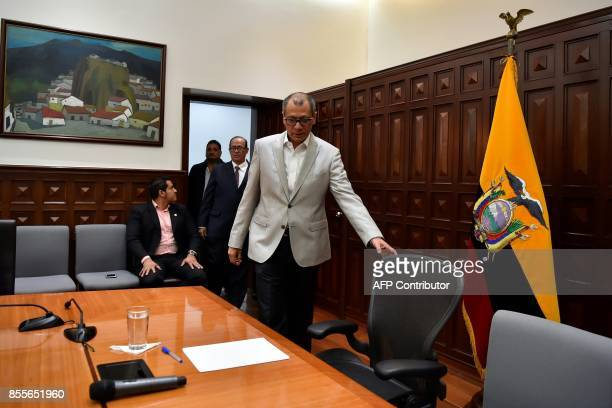 Ecuadorean VicePresident Jorge Glas allegedly involved in the sweeping corruption scandal around the Brazilian construction giant Odebrecht arrives...