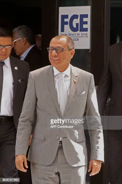 Ecuadorean VicePresident Jorge Glas leaves after testifying on the corruption case of Brazilian construction company Odebrecht at the General...