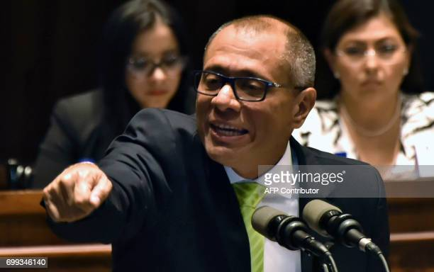 Ecuadorean VicePresident Jorge Glas speaks before the supervision commission of the Ecuadorean National Assembly on the corruption case of Brazilian...