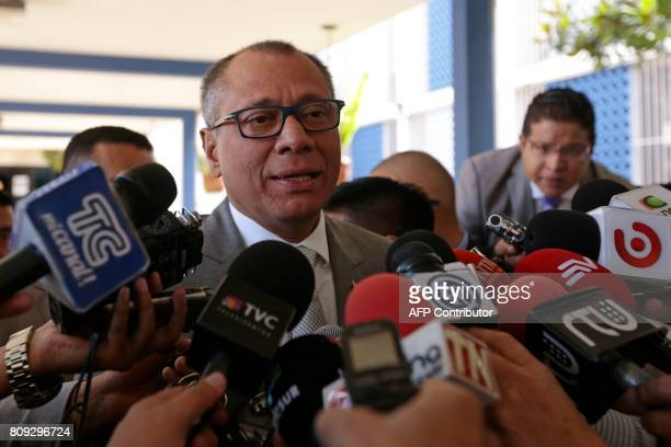 Ecuadorean VicePresident Jorge Glas speaks to the press after testifying on the corruption case of Brazilian construction company Odebrecht at the...