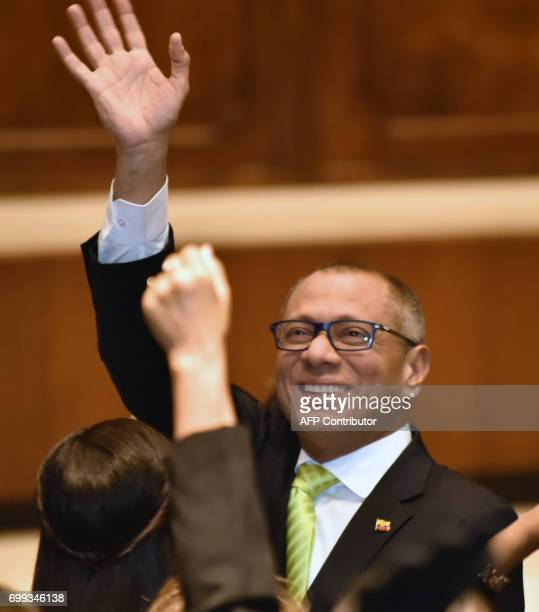 Ecuadorean VicePresident Jorge Glas waves as he arrives to speak before the supervision commission of the Ecuadorean National Assembly on the...