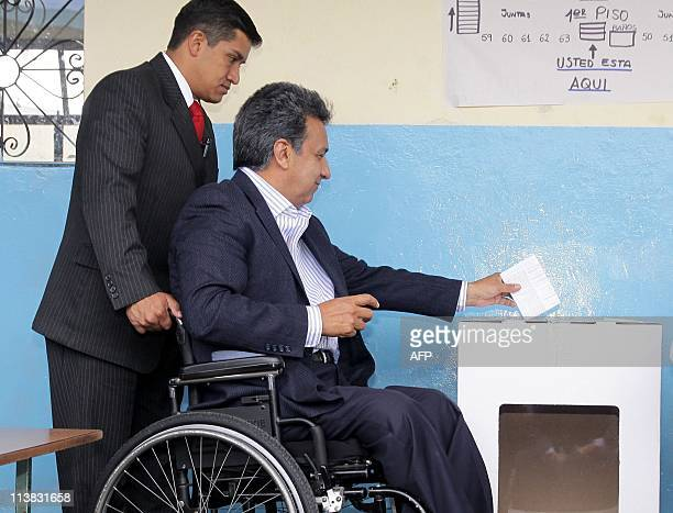 Ecuadorean vicepresident Lenin Moreno casts his vote at Borja 3 school in Quito on May 7 2011 Ecuadoreans began voting early Saturday on a raft of...