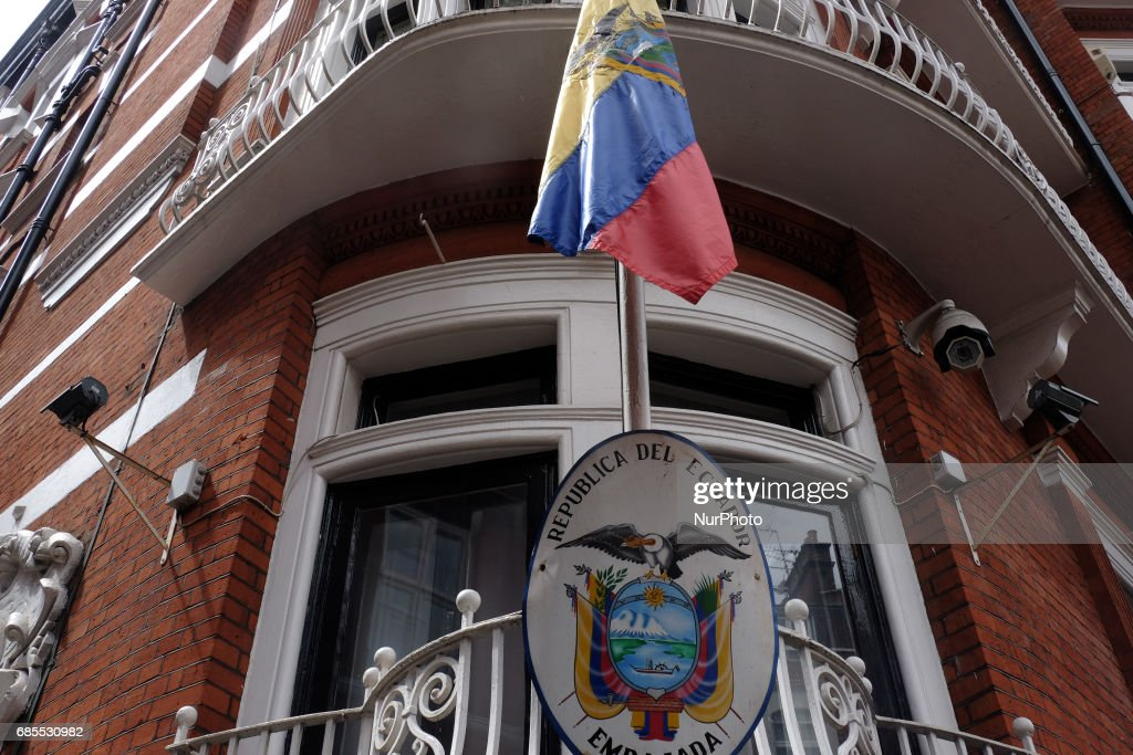 Ecuadorian embassy as people wait for Julian Assange to come out and make a statement, in London, on May 19, 2017.
