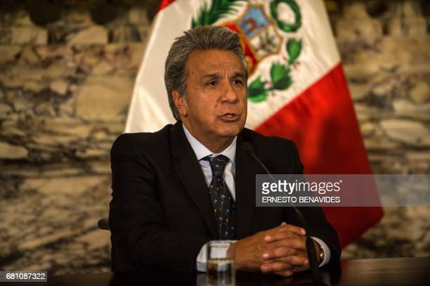 Ecuadorian Presidentelect Lenin Moreno speaks during a press conference after a private meeting with Peruvian President Pedro Pablo Kuczynski at the...