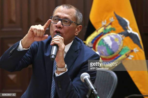 Ecuadorian Vice President Jorge Glas made a declaration in his office in response to the attorney general's announcement that he would present...