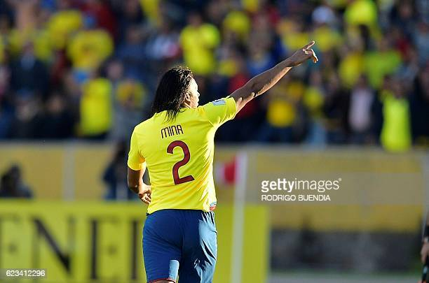 Ecuador's Arturo Mina celebrates after scoring against Venezuela during their 2018 FIFA World Cup qualifier football match in Quito on November 15...