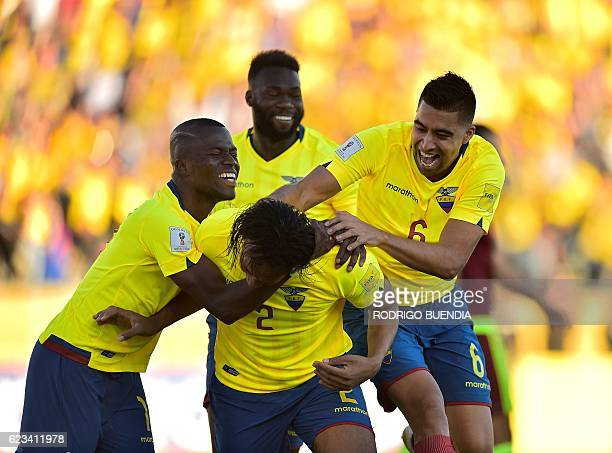 Ecuador's Arturo Mina celebrates with teammates after scoring against Venezuela during their 2018 FIFA World Cup qualifier football match in Quito on...