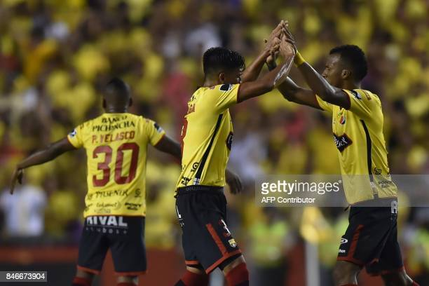 Ecuador's Barcelona players celebrate a goal against Brazil's Santos during their 2017 Copa Libertadores football match at Monumental stadium in...