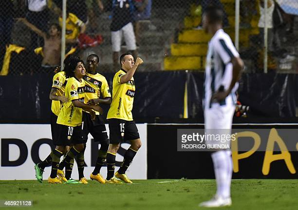 Ecuador's Barcelona's Brahian Aleman celerates his goal against Atletico Nacional from Colombia during their Copa Libertadores football match at the...