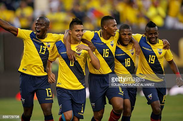 Ecuador's Christian Noboa celebrates with teammates after scoring against Haiti during their Copa America Centenario football tournament match in...