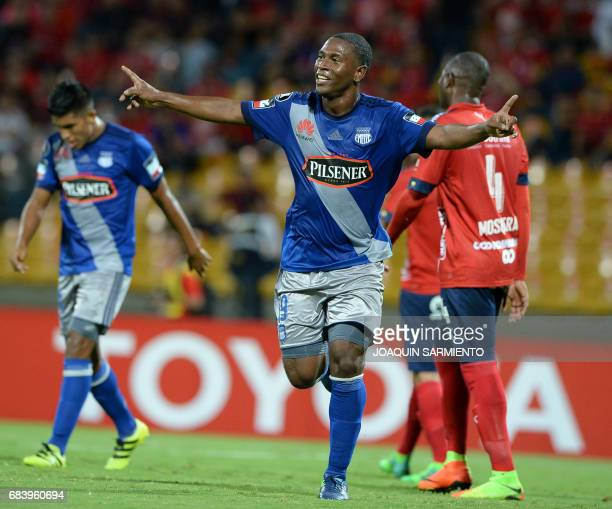 Ecuador's Emelec forward Bryan Angulo celebrates after scoring a goal against Colombia's Independiente Medellin during their 2017 Copa Libertadores...