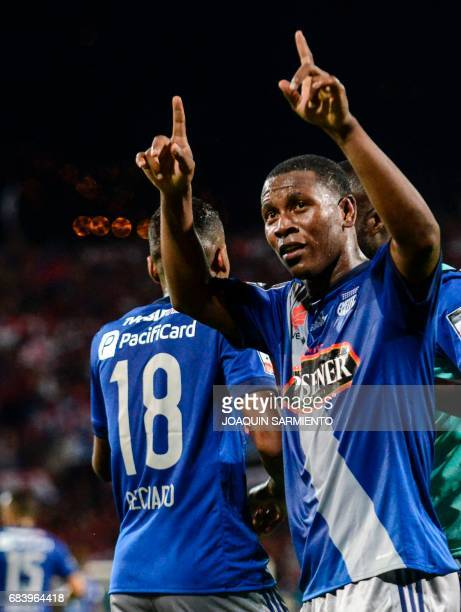 Ecuador's Emelec forward Bryan Angulo celebrates after scoring against Colombia's Independiente Medellin during their 2017 Copa Libertadores football...