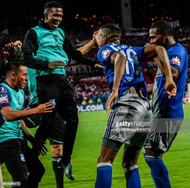 Ecuador's Emelec forward Bryan Angulo celebrates with his teammates after scoring against Colombia's Independiente Medellin during their 2017 Copa...