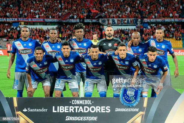 Ecuador's Emelec members pose for a picture before the start their 2017 Copa Libertadores football match against Colombia's Independiente Medellin at...