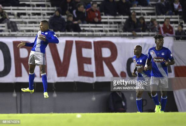 Ecuador's Emelec midfielder Eduar Preciado celebrates with teammates after scoring against Argentina's River Plate during the Copa Libertadores 2017...