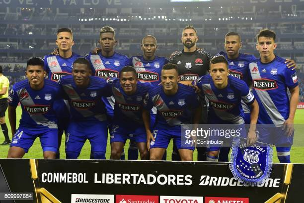 Ecuador's Emelec players pose before their 2017 Copa Libertadores football match at George Capwell stadium in Guayaquil Ecuador on July 6 2017 / AFP...