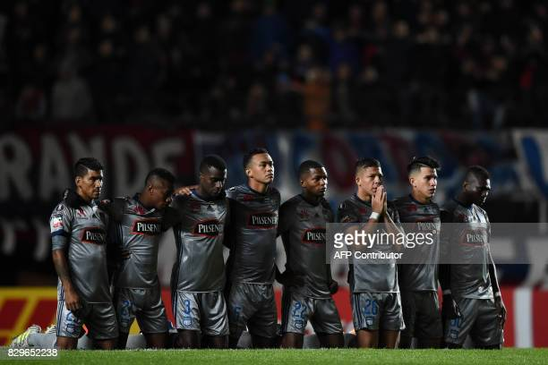 Ecuador's Emelec players react during the penalty kicks against Argentina's San Lorenzo during their Copa Libertadores 2017 round of 16 second leg...