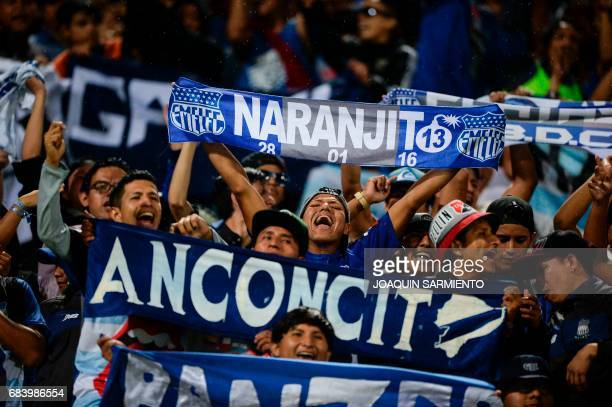 Ecuador's Emelec supporters cheer for their team during their 2017 Copa Libertadores football match against Colombia's Independiente Medellin at...