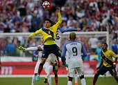 Ecuador's Fernando Gaibor jumps for a header during the Copa America Centenario football tournament quarterfinal match against USA in Seattle...