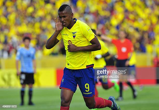 Ecuador's Fidel Martinez celebrates after scoring against Uruguay during their Russia 2018 FIFA World Cup South American Qualifiers football match in...