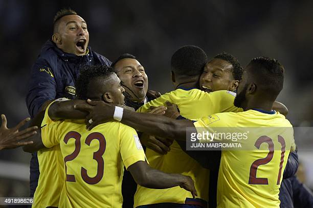 Ecuador's footballers celebrate after scoring against Argentina during their Russia 2018 FIFA World Cup qualifiers match at the Monumental stadium in...