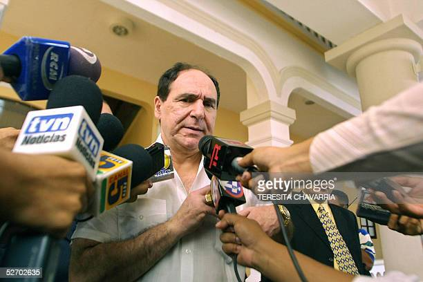 Ecuador's former President Abdala Bucaram speaks to journalists at the Foreign Affairs Ministry in Panama where he is seeking political asylum after...