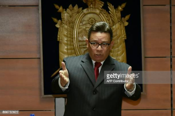 Ecuador's judge Miguel Jurado opens the hearing in which prosecutor Carlos Baca asked for preventive detention for Ecuadorean VicePresident Jorge...
