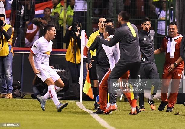 Ecuador's Liga de Quito Diego Morales celebrates his goal against San Lorenzo during their Copa Libertadores football match at Casa Blanca stadium in...