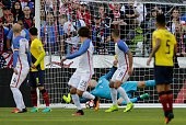 Ecuador's Michael Arroyo scores past USA's goalkeeper Brad Guzan during their Copa America Centenario football tournament quarterfinal match in...