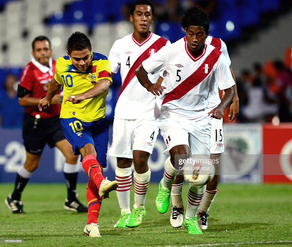 Ecuador's midfielder Jonny Uchuari shoots to score against Peru, during their South American U-20 final round football match at Malvinas Argentinas stadium in Mendoza, Argentina, on January 30, 2013. Four South American teams will qualify for the FIFA U-20 World Cup Turkey 2013.