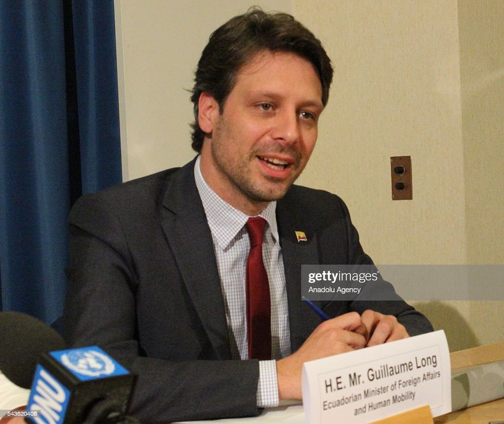 Ecuador's Minister of Foreign Affairs and Human Mobility Guillaume Long holds a press conference about Julian Assange, founder of WikiLeaks, at the United Nations Office in Geneva, Switzerland on June 29, 2016.