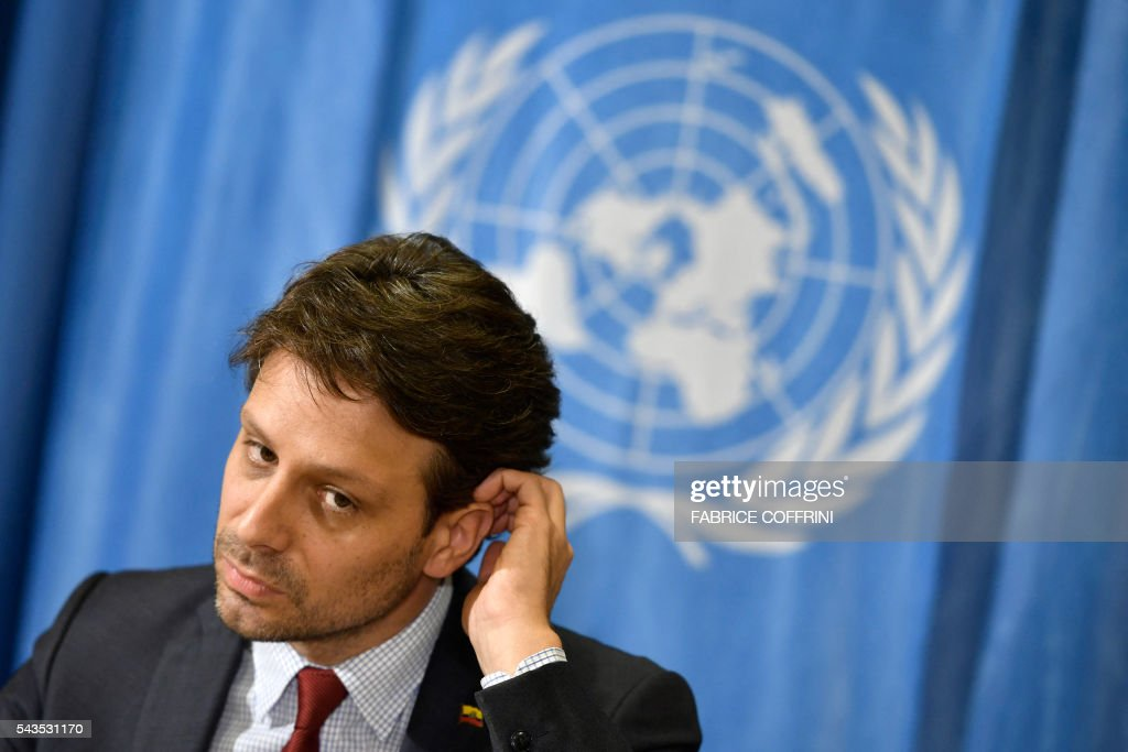 Ecuador's Minister of Foreign Affairs and Human Mobility Guillaume Long gestures during a press conference on WikiLeaks founder Julian Assange on June 29, 2016 at the United Nations offices in Geneva. Assange, 44, recently marked the start of his fifth year inside Ecuador's UK mission in a bid to avoid extradition. / AFP / FABRICE