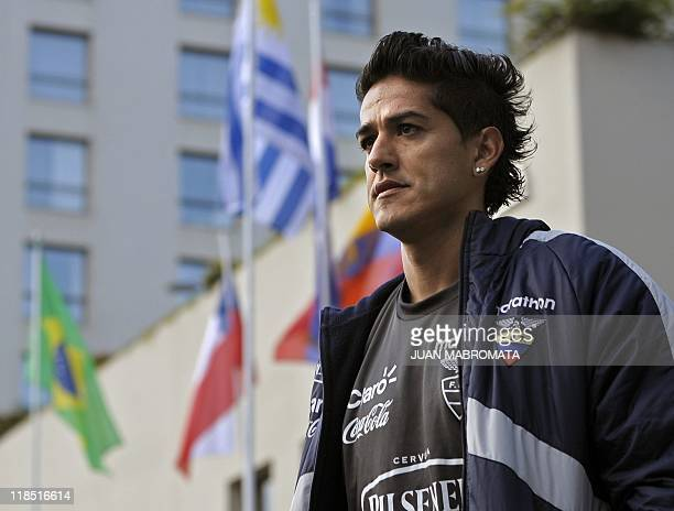 Ecuador's national football team defender Norberto Araujo leaves the hotel to attend the field recognition in Salta some 1500 Km northwest of Buenos...