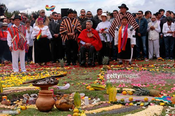Ecuador's new President Lenin Moreno accompanied by his wife Rocio Gonzalez VicePresident Jorge Glas and Bolivian President Evo Morales takes part in...