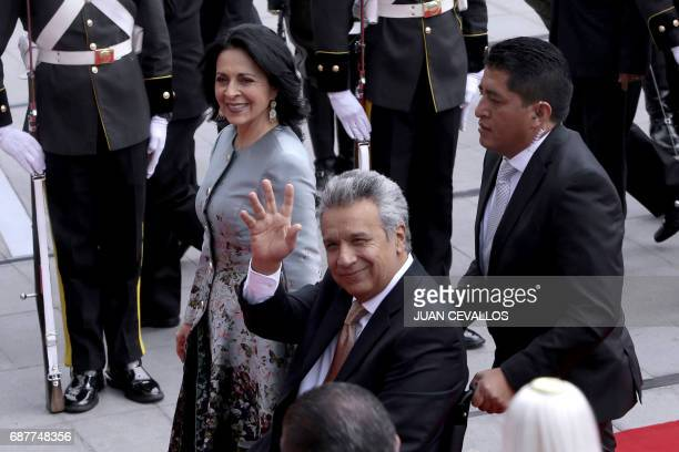 Ecuador's new President Lenin Moreno arrives at the National Assembly in Quito on May 24 2017 for his inauguration / AFP PHOTO / JUAN CEVALLOS