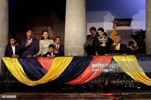 Ecuador's new Vice President Jorge Glas and President Lenin Moreno and their families take part in the presentation of the new cabinet of ministers...