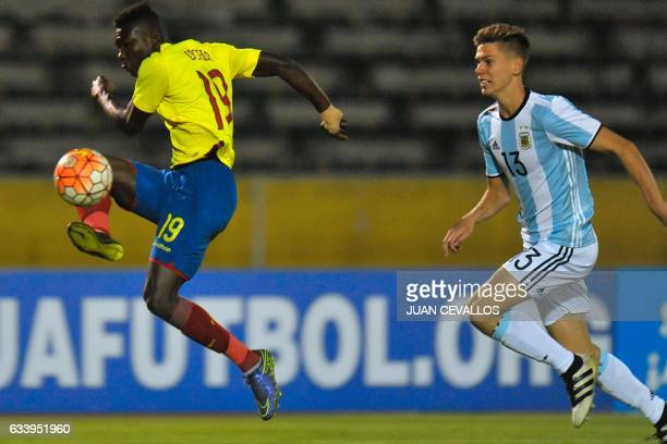 Ecuador's player Jordy Caicedo vies for the ball with Argentina's player Juan Marcos Foyth during their South American Championship U20 football...