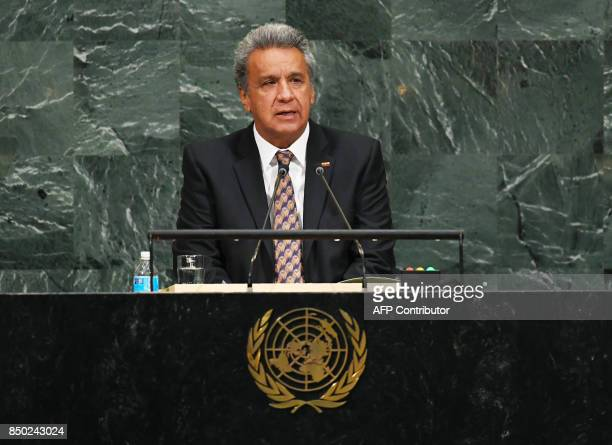 Ecuador's President Lenin Moreno addresses the 72nd UN General Assembly on September 20 at the United Nations in New York / AFP PHOTO / TIMOTHY A...