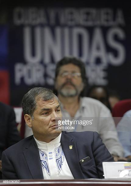 Ecuador's President Rafael Correa attends the closing ceremony of the Peoples Summit at the University of Panama in Panama City on April 11 2015 AFP...