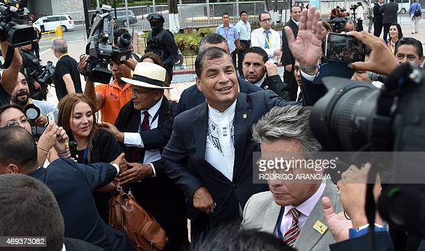 Ecuador's President Rafael Correa is seen on his way to the Second Plenary Session of the VII Americas Summit at the Convention Center in Panama City...